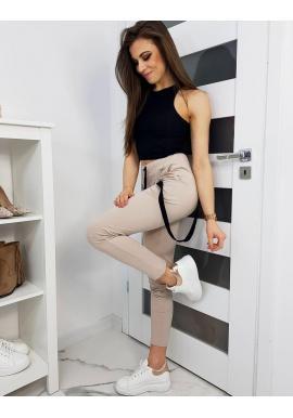 Štýlové dámske nohavice béžovej farby s ozdobným pásom