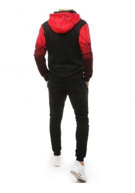Tepláková pánska súprava červeno-čiernej farby s potlačou
