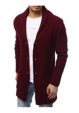 Pánsky dlhý sveter so šálovým golierom v bordovej farbe