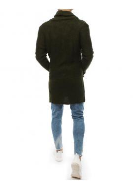 Dlhý pánsky sveter kaki farby so šálovým golierom
