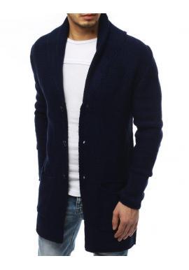 Tmavomodrý dlhý sveter so šálovým golierom pre pánov