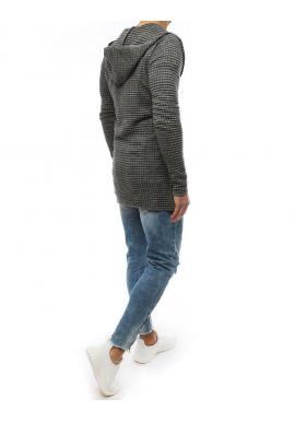 Pánsky dlhý sveter s kapucňou v svetlosivej farbe