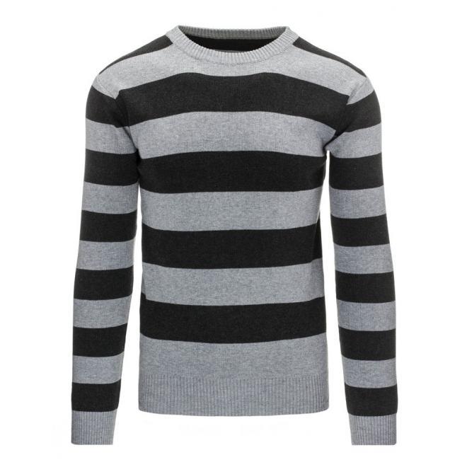 Tmavomodrý sveter s okrúhlym výstrihom pre pánov