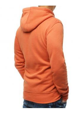 Oranžová klasická mikina s kapucňou pre pánov