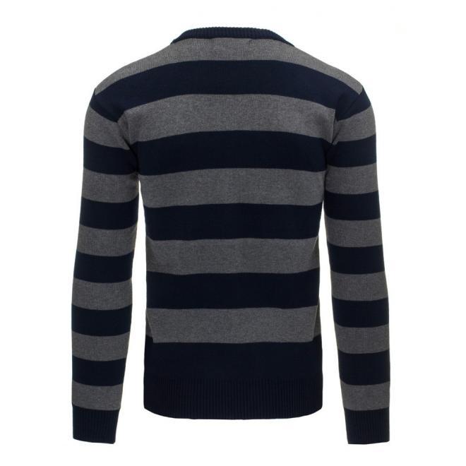 Čierno-sivý sveter so širokými pásmi pre pánov