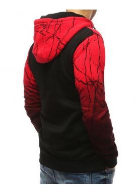 Červená štýlová mikina s potlačou pre pánov