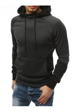 Športové pánske mikiny tmavosivej farby s kapucňou