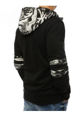 Pánska módna mikina s potlačou v čiernej farbe