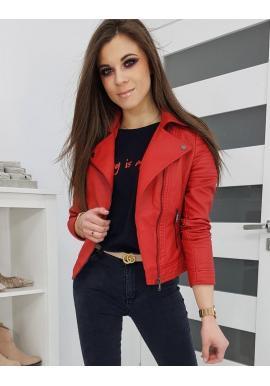 Dámska koženková bunda na jar v červenej farbe