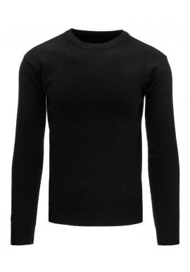 Klasický čierny sveter pre pánov s okrúhlym výstrihom