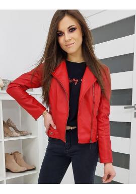 Červená koženková bunda na jar pre dámy