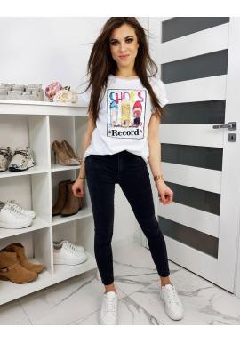 Dámske klasické tričko s farebnou potlačou v bielej farbe