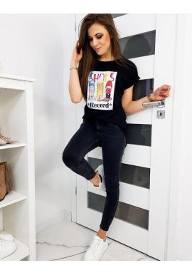 Čierne klasické tričko s farebnou potlačou pre dámy
