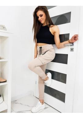 Béžové módne tepláky s vreckami na stehnách pre dámy