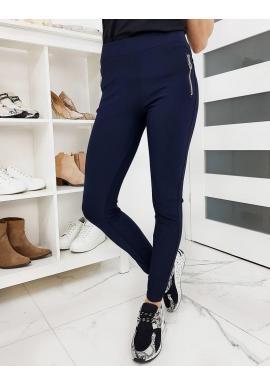 Elastické dámske nohavice tmavomodrej farby