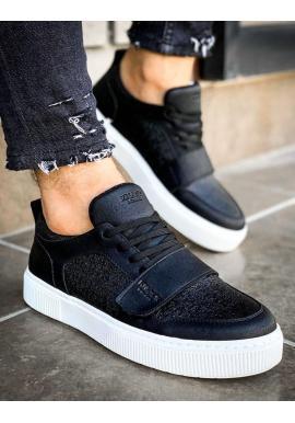 Pánske módne tenisky so suchým zipsom v čiernej farbe