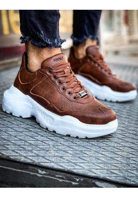 Pánske módne Sneakersy na vysokej podrážke v hnedej farbe