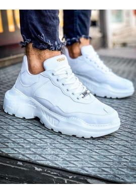 Biele módne Sneakersy na vysokej podrážke pre pánov