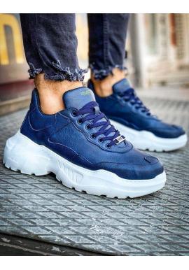 Módne pánske Sneakersy modrej farby na vysokej podrážke