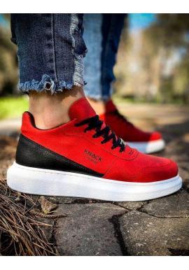 Športové pánske Sneakersy červenej farby na vysokej podrážke