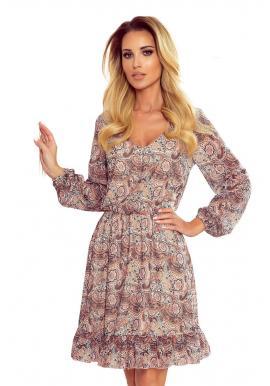 Dámske šifónové šaty s boho vzorom v béžovo-hnedej farbe