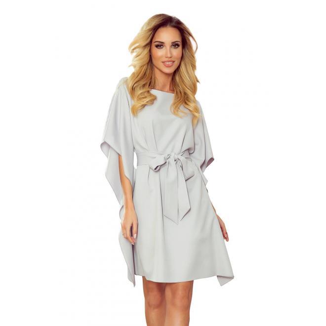 Módne dámske šaty sivej farby s opaskom