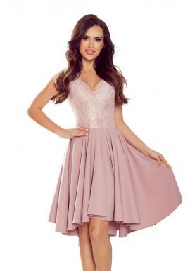 Práškovo ružové exkluzívne šaty s čipkovaným výstrihom pre dámy
