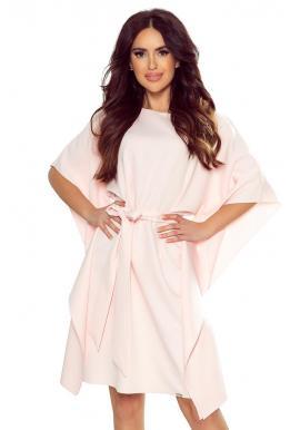 Dámske módne šaty s opaskom v pastelovo ružovej farbe
