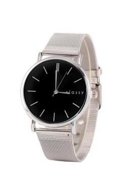 Elegantné dámske hodinky striebornej farby s čiernym ciferníkom