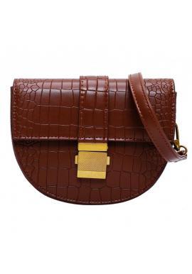 Módna dámska kabelka hnedej farby s textúrou hadej kože