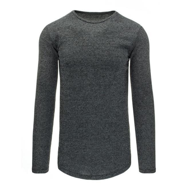 Dole zaoblený pánsky sveter tmavomodrej farby