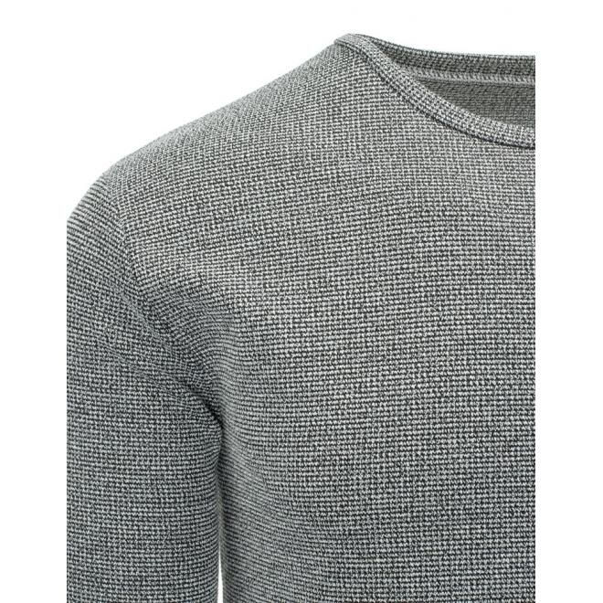 Pánsky dole zaoblený sveter v tmavosivej farbe