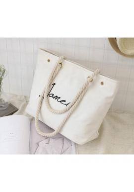 Biela veľká plátená taška s nápisom pre dámy