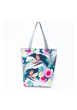 Farebná plážová taška s kvetinovou potlačou pre dámy