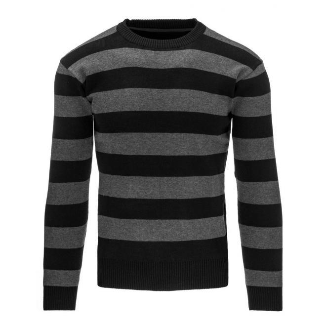 Pásikavý pánsky sveter čierno-sivej farby