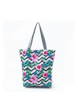 Plážová dámska taška s farebnou kvetinovou potlačou