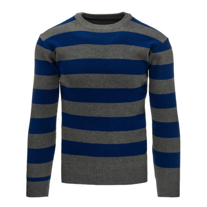 Sveter pre pánov so širokými pásmi v modro-sivej farbe