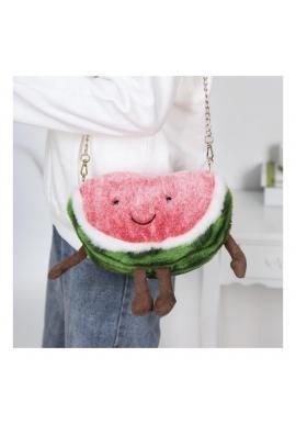 Plyšová dámska kabelka v tvare melóna