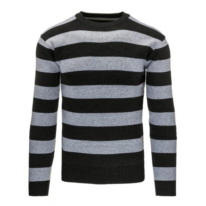 Pánsky sveter sivo-modrej farby s pásikmi