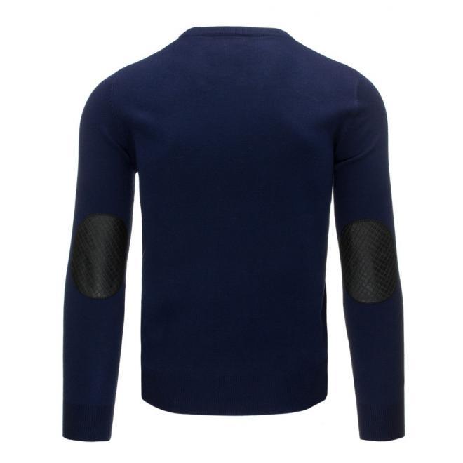 Klasický čierny sveter so záplatami na lakťoch
