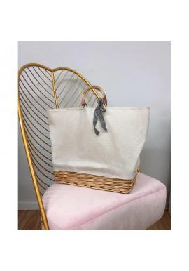 Dámska prútená kabelka s béžovou látkou