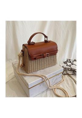Dámska prútená kabelka s hnedou ekokožou