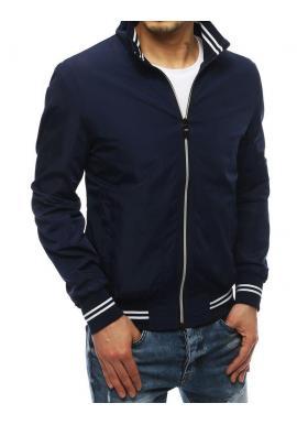 Pánska prechodná bunda bez kapucne v tmavomodrej farbe