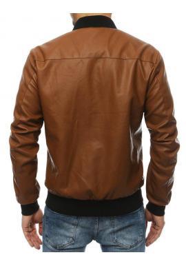 Hnedá kožená bomber bunda na jar pre pánov