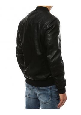 Kožená pánska bomber bunda čiernej farby na jar