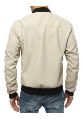 Krémová kožená bomber bunda na jar pre pánov