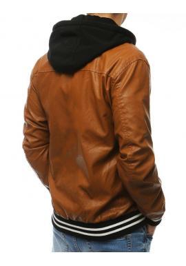 Kožená pánska bunda hnedej farby s kapucňou