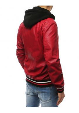 Pánska kožená bunda s kapucňou v červenej farbe