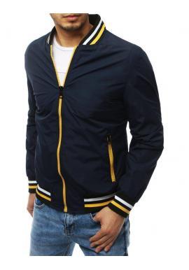 Prechodná pánska bunda tmavomodrej farby bez kapucne