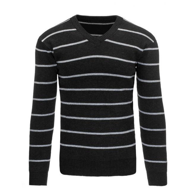 Sivý pánsky sveter s modrými tenkými pásikmi